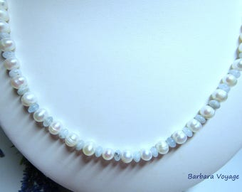 Aquamarine beads necklace, cultured Silver 925/1000, necklace wedding tradition