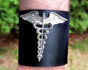 Caduceus Cuff, Staff of Hermes, Black Leather Cuff, Mens Cuff, One of a Kind, Ready to Ship