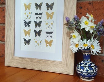 Black & gold butterflies on canvas