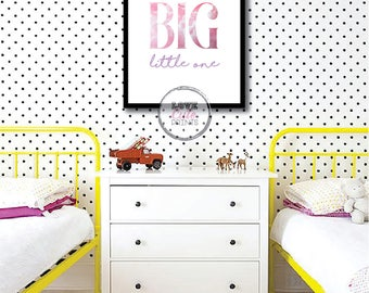 Printable Dream Big Little One Poster, Pink Nursery Room Print, Baby Girl Wall Decor, Nursery Poster, Baby Girl Prints, Girls Room