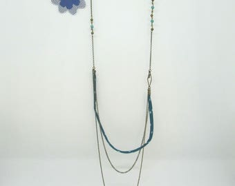 Liberty collection: turquoise blue liberty necklace, beads turquoise blue and bronze, Star - offered earrings charm