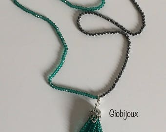 Nappina Necklace - Long necklace in pearls and crystals with tassel in crystal