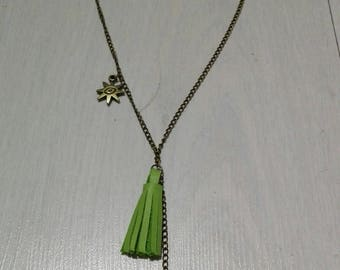 Necklace green leather tassel