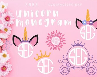 FREE SVG & PNG Link | Unicorn Monogram Cut Files, svg, png, dxf, eps | Commercial Use | circuit, cameo silhouette | Princess Unicorn Clipart
