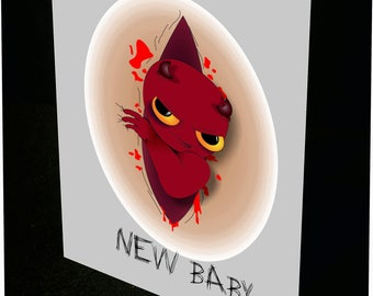 Personalised Little Devil New Baby card