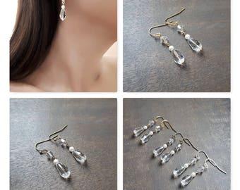 Earrings wedding, Swarovski pearls earrings, Crystal earrings, Simple pearl earrings, Pearl drop earrings, Bridesmaids earrings