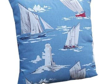 Sailing Boats and Lighthouses Fabric Cushion Cover