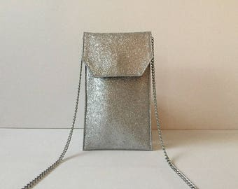 Phone case with removable chain for phone or glasses, faux silver leather Crossbody, feather inside