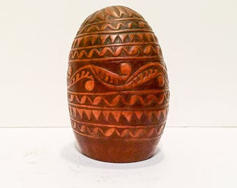 Antique Cup Coconut Carving  Sailor Shell Folk 19th Century