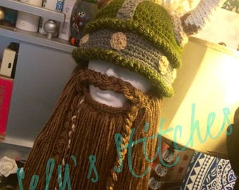 Handmade Crochet Viking Helmet and Beard Beanie