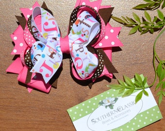 Back to School Hair Bow Pink, Brown Polka Dot Stacked Loop Alphabet Boutique Bow for Toddlers, Little Girls, Big Girls