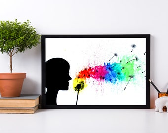 Silhouette Girl Blowing On Dandelion Rainbow Watercolor Colorful Art Painting Print