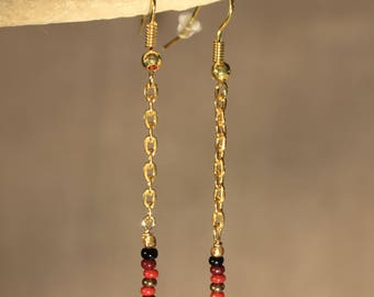 Beads and chain, fancy chic earrings