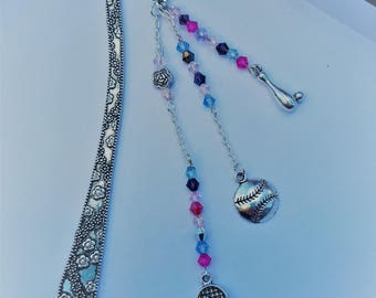 Bookmark tennis/bowling, purple, pink and purple theme