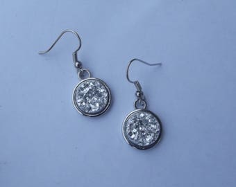 Small dangle earrings with silver hooks and round shiny grey granite effect acrylic cabochon
