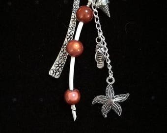 Bookmark in silver, beaded Brown, ice cream cone, tong, and starfish