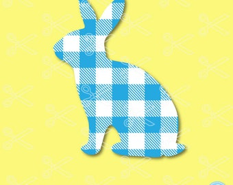 Easter SVG, DXF, EPS, Png Cutting Files, Easter Bunny Svg, Bunny Svg, Rabbit Svg, Buffalo Plaid Bunny, Plaid Bunny Svg, Cricut & Silhouette