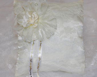 One of a kind wedding ring pillow in lemon yellow satin and lace