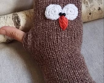 Hand knitted OWL mittens