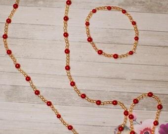 Apple Bead Necklace and Bracelet Set