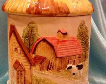 Large Maruri Japan Ceramic Canister (Farm Scene with Thatched Roof Lid)