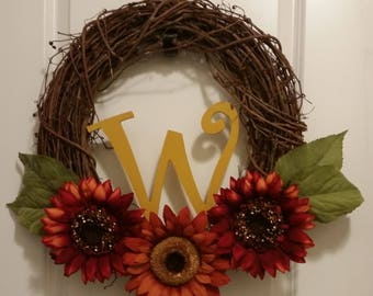 Fall Sunflower Letter Wreath