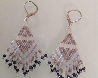 Grey and Golden miyuki beads earrings.
