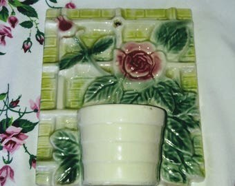 Vintage Rose Trellis Wall Pocket Planter