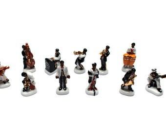 11 beans musicians jazz porcelain cake or collection of miniatures - musician gift idea, jazz band, Epiphany