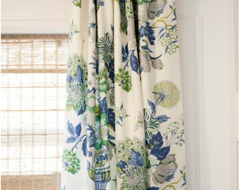 Blue Green Drapes Curtains Oriental Custom Lengths Extra Long Extra Wide  Portobello Vase Chinoiserie Waverly Emerald