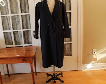 Navy Blue Fen-nelli Double Breasted Coat