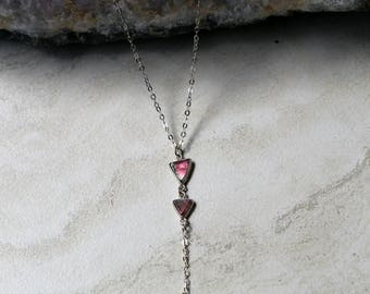 Watermelon and Pink Tourmaline Sterling Silver Triangle Necklace