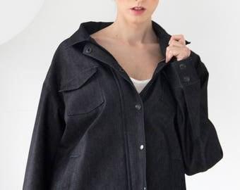 Oversize black jeans jacket
