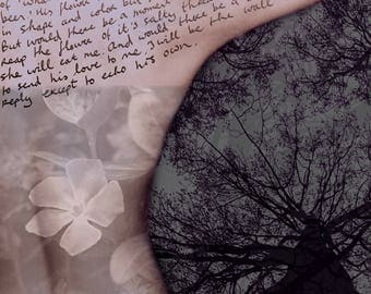 Self portrait with poem on unrequited love written back alone lonely daring intense longing desire surreal dreamy dark trees double exposure