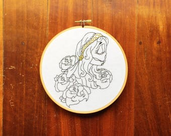 "Tattoo Embroidery Hoop ""Zombie Bae"" Hand Stiched // Black and Gold ~ Home Decor ~ Wall Art ~ Modern Embroidery ~ Dark & Delightful"