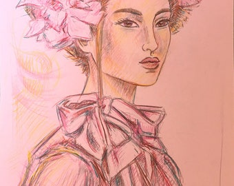 Pink Lady - drawing on colored paper