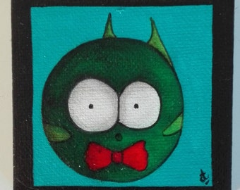 Magnet mini magnetic canvas frame, Green fish