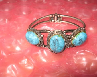 Vintage Tribal Metal Hinged South Western Triple Stone Turquoise Clamper Bracelet