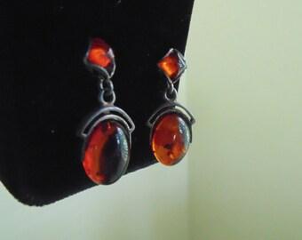 Amber drop earrings in antique setting