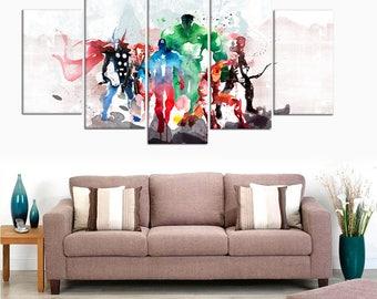Avengers Watercolor Marvel Poster Hulk Iron Man Captain America Framed Canvas Art Print Decor Kids Room