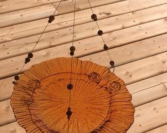 Orange glass, Bird feeder, Bird bath, Wire , wooden beads,