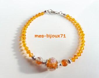 Glass Beads Bracelet, Orange Jewelry, Orange Bracelet, Glass Beads Jewelry