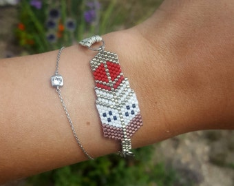Bracelet beads Miyuki - red and eggplant colored feather with Ribbon
