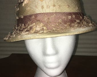 1920s Creme and Pink Striped Hat