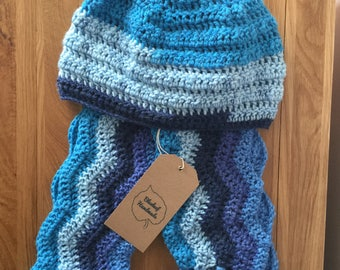 Blue  Crochet Hat and Scarf