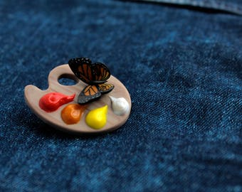 artist palette brooch wooden palette gift for painter butterfly lover painter brooch light wooden palette sign with paints and butterflies