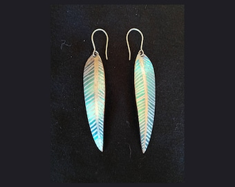 Titanium Feather Earring - Green