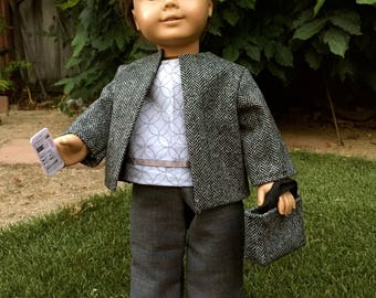 Tweed Jacket - 18 Inch Doll Clothes, Handmade Open Front Wool Jacket for 18 inch doll like American Girl, Journey Girl, or Our Generation