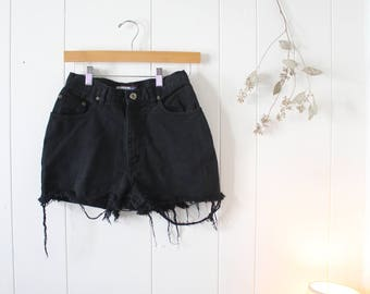 Vintage High Waisted Black Jean Shorts