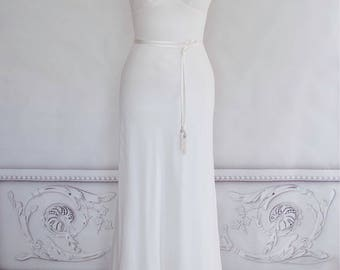 Bias Cut Silk Georgette Wedding Dress Boho Gown Beach Bridal Straps